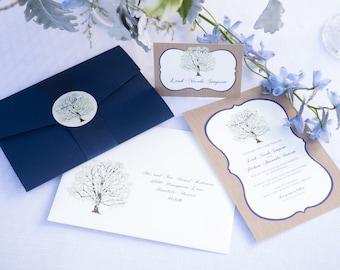 Tree Wedding Invitation Navy, with Woodgrain, Invitation Sample, Navy Pocketfold, Rustic Invitation Suite