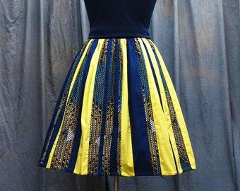 Yellow and Navy Colour Block Skirt | Ethnic full gathered Skirt | Stripe  Skirt | Knee Length Skirt | Mixed Print Skirt |African Print Skirt