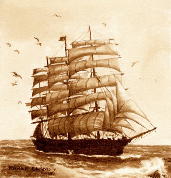 Coffee art at sea painted using only coffee tall ship for Coffee watercolor