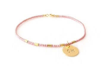 Minimalist Beaded Gold Bracelet - Personalized Monogram Initials, Heart, Cross, Crossed Arrows - The Skinny: Pink Five Mini Bar