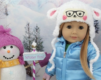 """White Lamb Hat for American Doll - 18"""" Inch Doll Sheep Hat - Cute Girl Doll Hat - Crochet Doll Clothes"""