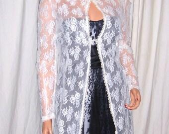 Vintage White Lace Maxi Jacket S/M