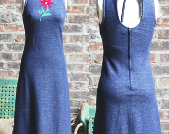 1970's Denim Maxi with Cut-Out Back - HB Jrs. of California size 7 Junior - USA 4 or XS Small - Boho Dress