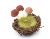 Mossy Ring Bearers Pillow, Rustic Woodland Wedding Fairytale Nest Mushrooms Wool Woolly Felt Toadstool