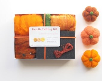Pumpkin Needle Felting Kit - Needle Felted Pumpkin Kit - Beginner Starter Kit - DIY Craft Kit - DIY Home Decor - Fall