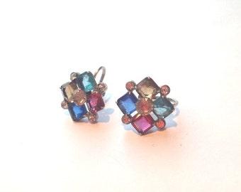 Beautiful vintage 60s Avon Sterling Silver open back multi colored rhinestone earrings //screw back //spring // summer