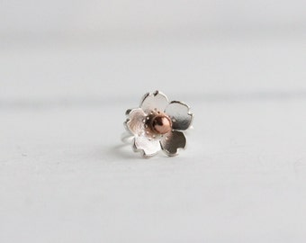 Cartilage Hoop Earring, Cherry Blossom, Sterling silver Satin helix earring, gifts for her, gifts under 20, Sakura earring