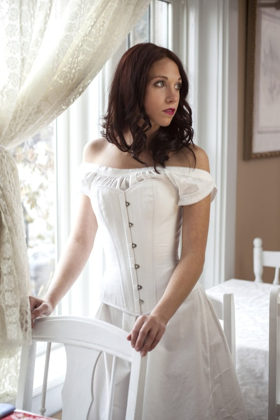 Victorian Corsets – Old Fashioned Corsets & Patterns Victorian Corset White Cotton Authentic Civil War Overbust for Theatre Living History Historical Costume - Ready to ship in standard sizes $290.00 AT vintagedancer.com