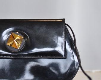 1980s Patent Leather Purse / Clutch // Black evening bag //  Designer Shoulder Bag // Genuine Leather / Linda Allard/ Ellen Tracy