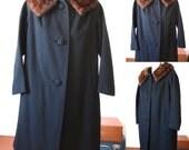 Vintage Ladies Black Combed Wool Coat with Mink Collar