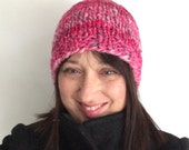 Hand Spun Cap Woman's Winter Hat Hand Knit Beanie Handspun Pink Skullcap OOAK