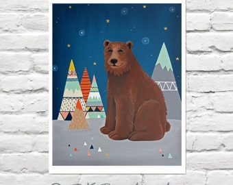 Childrens Art Print - Bear Nursery - Dream Bear 11x14 Print- woodland nursery, mountains, tribal nursery art