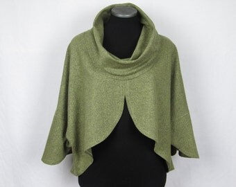 Women clothing, elegant apparel, silk blend fabric, green tweed, moss green, chartreuse, stylish jacket, Christine Mercier designer