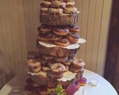 Rustic Wood Tree Slice 4-tier Donut or Cupcake Stand for your Wedding, Event, or Party (As seen on HGTV.com) Vintage, Shabby Chic