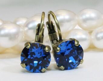 Royal Blue Earrings Cobalt Blue Swarovski Crystal Royal Blue Wedding 8mm single stone Drop Earring Rhinestones,Brass finish,Capri Blue, BE2