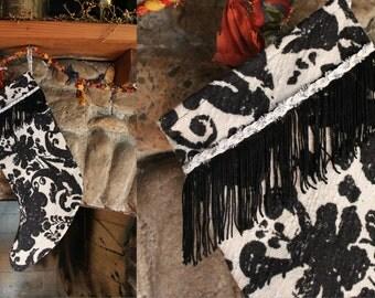 Upcycled Vintage Black & White Floral Fringe Christmas Stocking