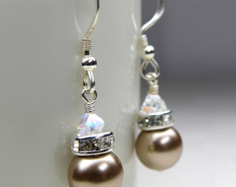 Champagne Earrings, Beige Swarovski Pearl Drop, Sterling Silver, Bridal Party Handmade Jewelry, Tan Taupe Bridesmaid Wedding Gift