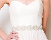 Bridal Sash | Rhinestone Wedding Sash | Crystal Bridal Sash | Pearl Bridal Sash [Sakura Belt]