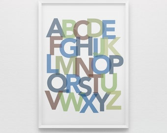 Alphabet nursery art print boys, blue green brown abc poster