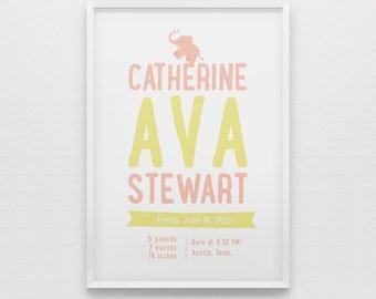 Newborn baby girl birth stats nursery wall art print, personalized gift, pink yellow poster, elephant
