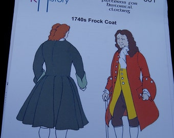 SALE   1740s Frock Coat Pattern Reconstructing History Clothing Pattern  801