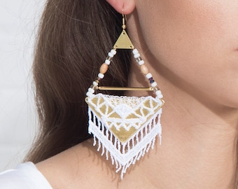 Lace earrings - BAZAAR - White or porto lace with brass findings and multicolor beads
