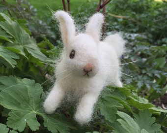 Needle Felted White Bunny Rabbit Baby Poseable Running
