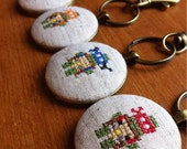 TMNT keychain groomsmen gift, cross stitch Teenage Mutant Ninja Turtles inspired keychain.