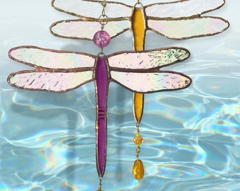 Stained Glass Dragonfly fan pulls