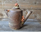 Stoneware Teapot  MADE TO ORDER - with mushrooms and little snail - Stoneware (grès) Teapot