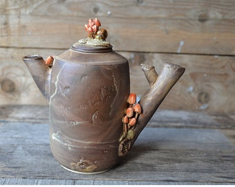 Stoneware Teapot with mushrooms and little snail - Stoneware (grès) Teapot