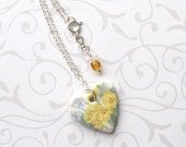 20% OFF! Heart Necklace. Yellow Primrose Bouquet. Ceramic. Porcelain. Lavender Blue Violets. Glass Beads. Shabby Chic. Clay. Sterling Chain