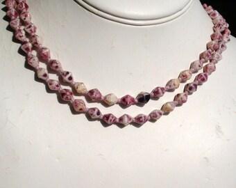 Art Deco Plum Glass Bead Vintage Antique Flapper Necklace