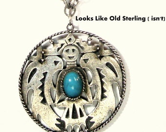 Vintage Silver Turquoise Thunderbird Pendant Necklace, Faux Turquoise and Silver, Southwestern Native American Motif, 1970s