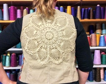 Tan Brown Corduroy Vest with Vintage Crochet Flower Doily, Button Up, Crop, Recycled, Fitted, Womens Size XLarge