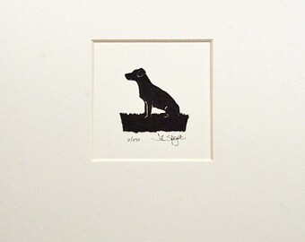 jack russell sitting hand cut papercut