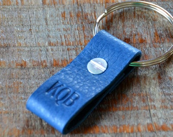 Monogrammed Navy Blue and Black Leather Keychain - Short & Wide Style