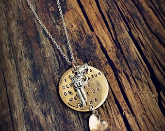I Keep a Close Watch on this Heart of Mine Necklace with Gun and Heart Johnny Cash Quote I Walk the Line