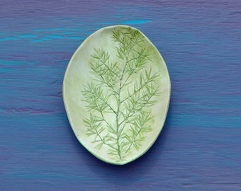 Beautiful botanical vintage handcrafted leaf shaped carved relief tree painting shallow fairy offering bowl garden party boho clay art dish