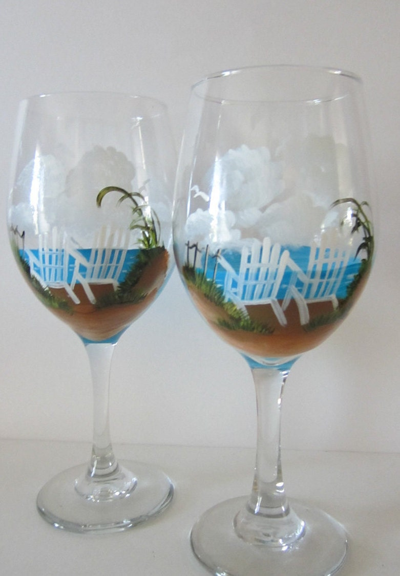 2 Hand Painted Beach Chair Wine Glasses