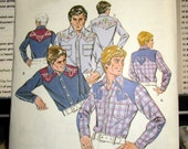 1021 Kwik Sew Pattern Men's Western Shirt  Size 34 thru 40