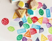 gemstone rubber stamp set. diamond hand carved rubber stamp. diy wedding birthday christmas. gift wrapping. holiday craft projects. set of 6