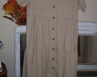 Plus Size Lagenlook French Farm Girl Prairie Dress Size Large 40 inch bust