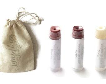 Vegan Tinted Lip Balm // Set of 3 // Choose your own shades
