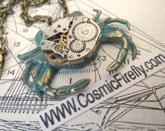 Steampunk Necklace Green Crab Necklace Vintage Watch Movement Brass Crab Jewelry Nautical Jewelry Cosmic Firefly Verdigris Green Paint