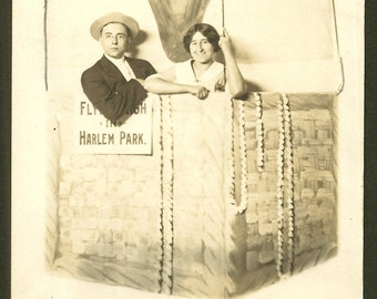 Harlem Park - Hot Air Balloon - Arcade Photo RPPC