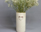 Golden Initials on White Porcelain Wood Grain Vase - Made To Order