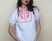 folklorico -- vintage lightweight cotton white top with red embroidered details S
