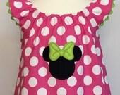 Disney Dress... Minnie Mouse Dress....The Hadley Dress...Flutter Sleeve Dress with Ric Rac Trim...Pink Polka Dot Dress