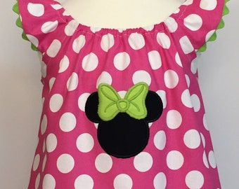 Disney Dress... Minnie Mouse Dress....The Hadley Dress...Flutter Sleeve Dress with Ric Rac Trim...Pink Polka Dot Dress